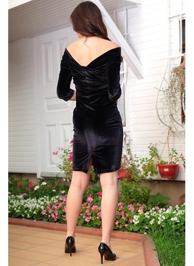 İroni Omuz Bantlı Kadife Kalem Elbise Siyah